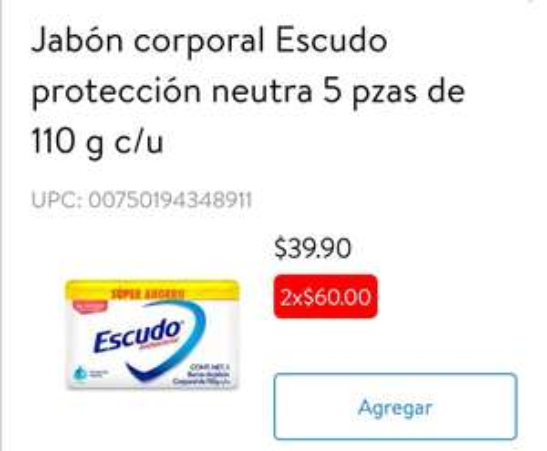 Walmart Súper: Jabón Escudo Antibacterial 110 g