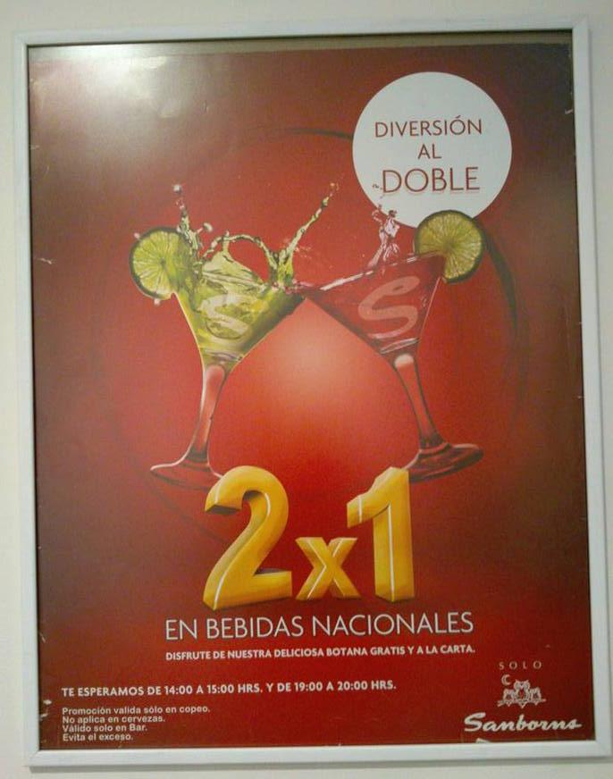 Sanborns: 2x1 en bebidas nacionales y botana gratis en bar