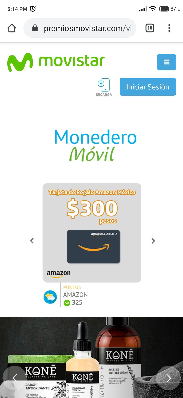 Premios Movistar: Cupón Amazon de $300