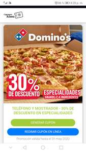 Domino's Pizza: 30% de descuento en especialidades 2-4 ingredientes dominos con cuponera alsea