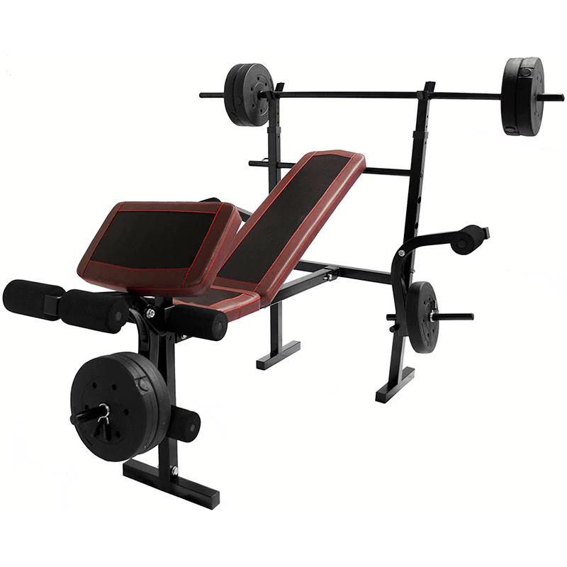 Claroshop: Pagando con Paypal Banco Multiposiciones Kit Pesas 8 Discos 10lbs Barra Recta Gym Ejercicio
