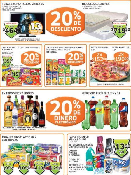 Soriana: 20% en monedero vinos y licores, descuento en teles LG, colchones, galletas y +
