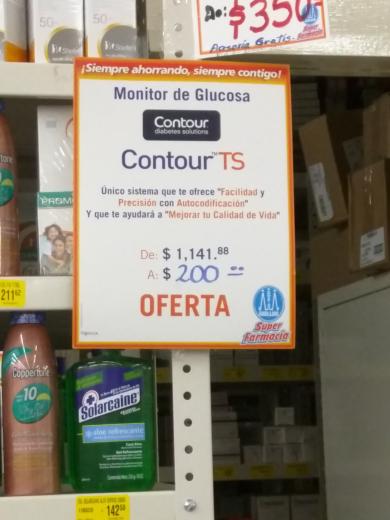 """Farmacias Guadalajara: monitor de glucosa """"Contour TS"""" de $1,141 a 200"""