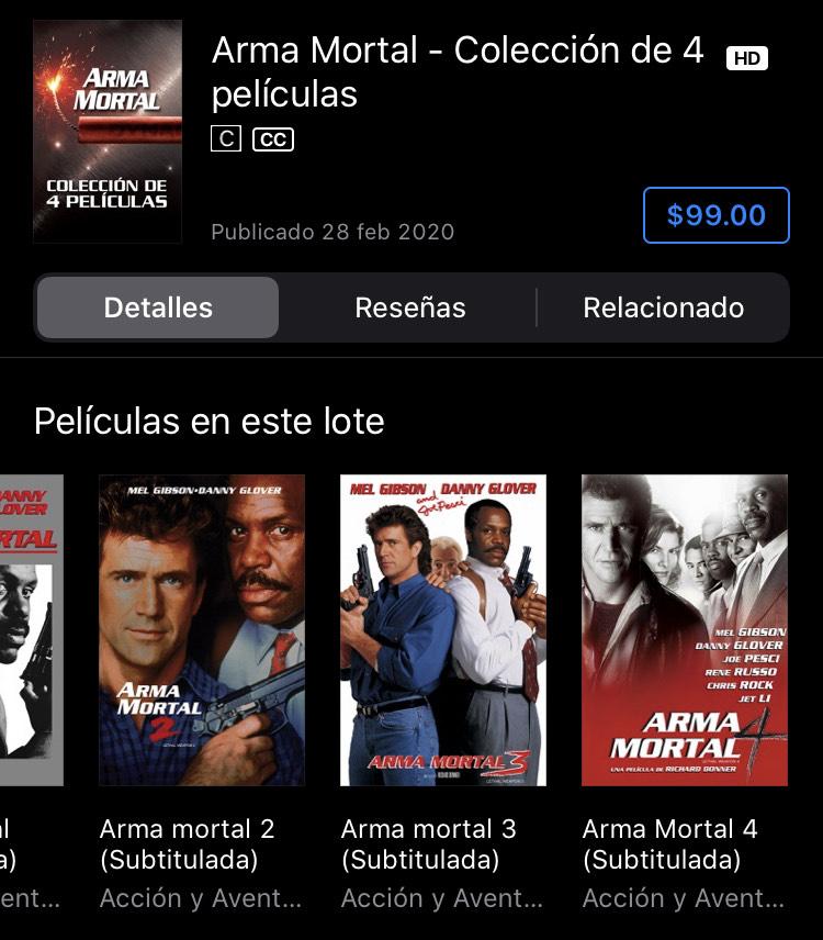 iTunes: Arma Mortal - Colección de 4 películas