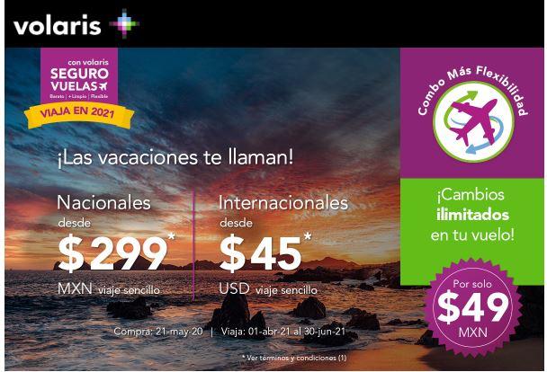 volaris: Viajes nacionales desde $299 MXN viaje sencillo