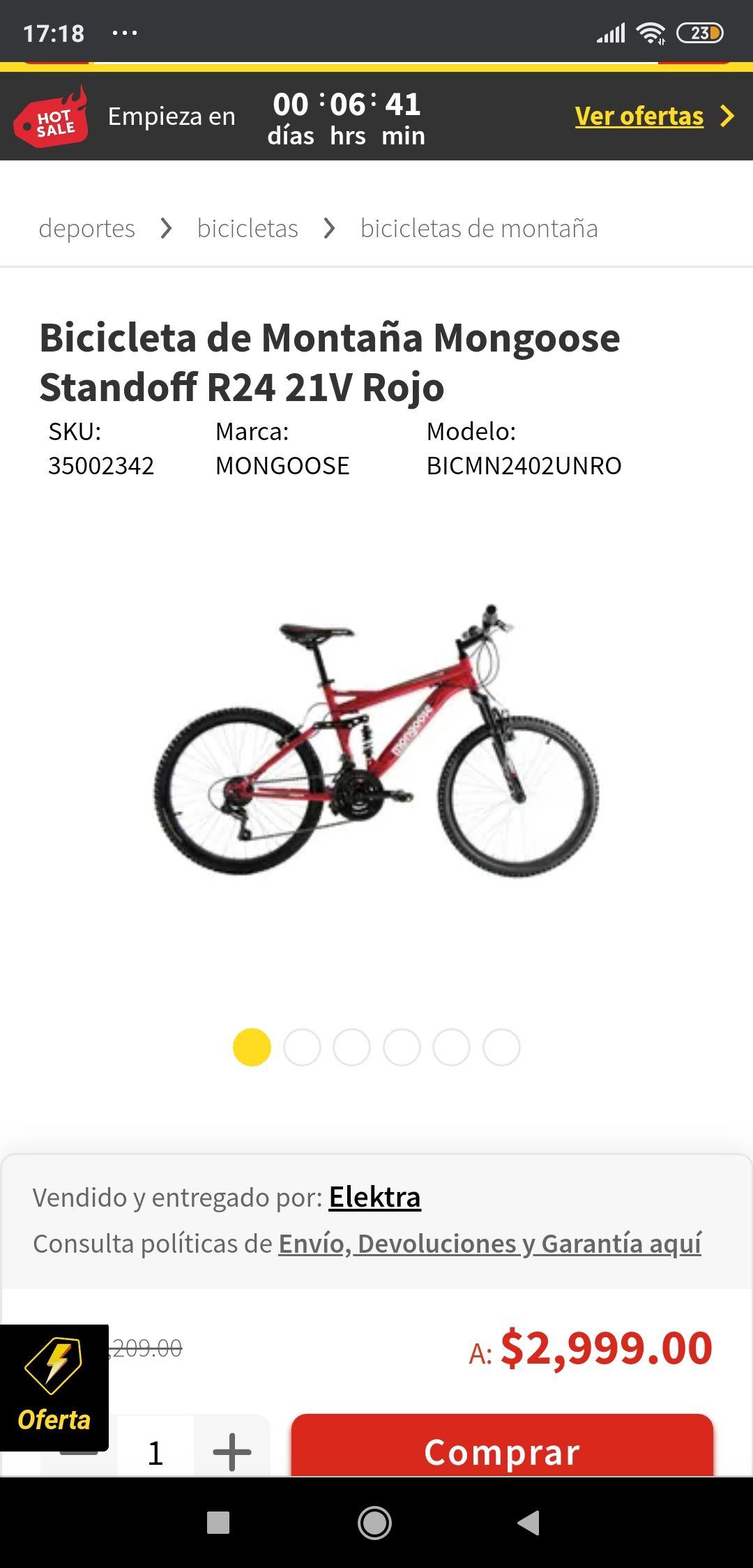 Elektra : Bicicleta de Montaña Mongoose Standoff R24 21V Rojo