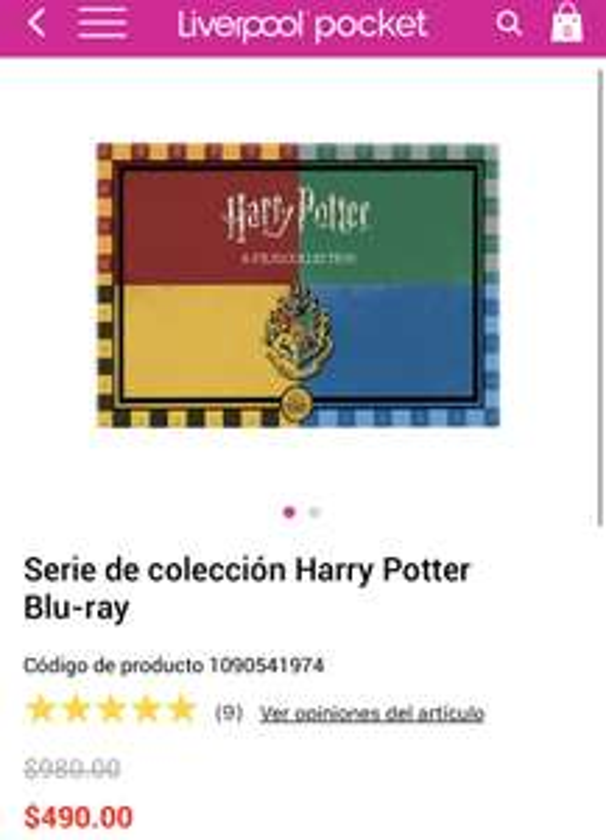 Liverpool: Colección 8 películas Harry Potter blue ray