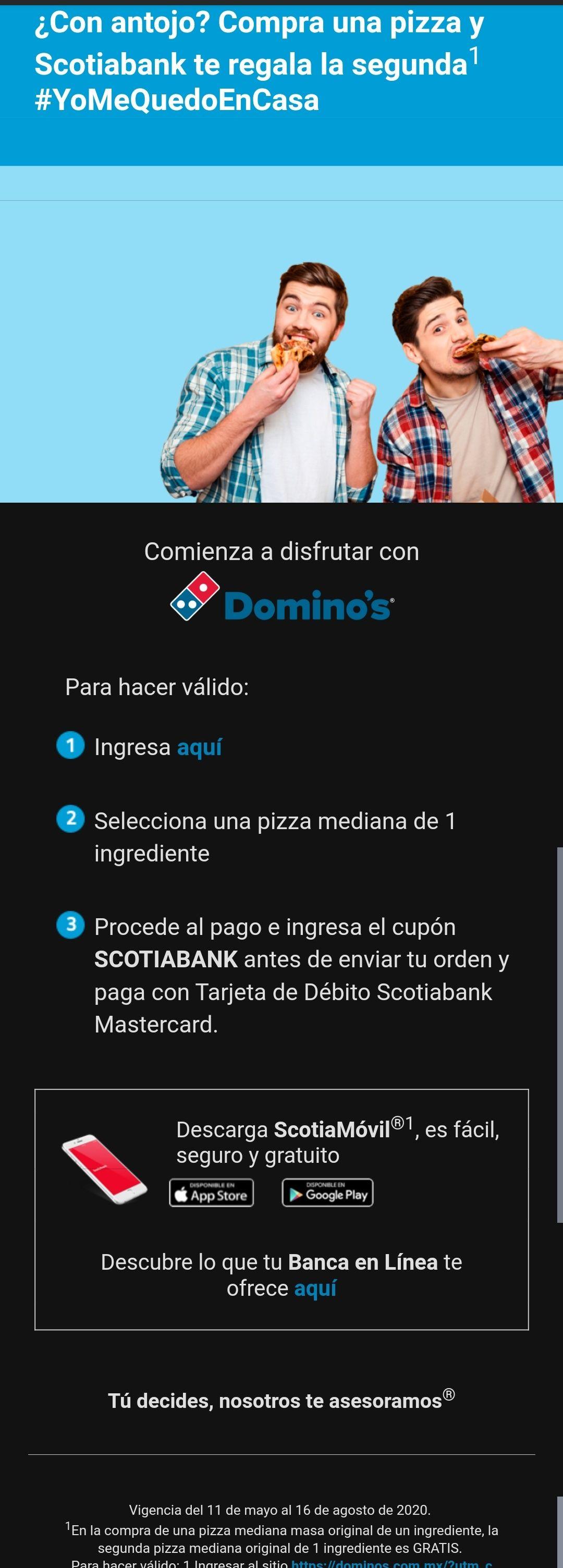 """Domino's Pizza: Pide una pizza mediana y la segunda va Gratis """"Scotiabank"""""""