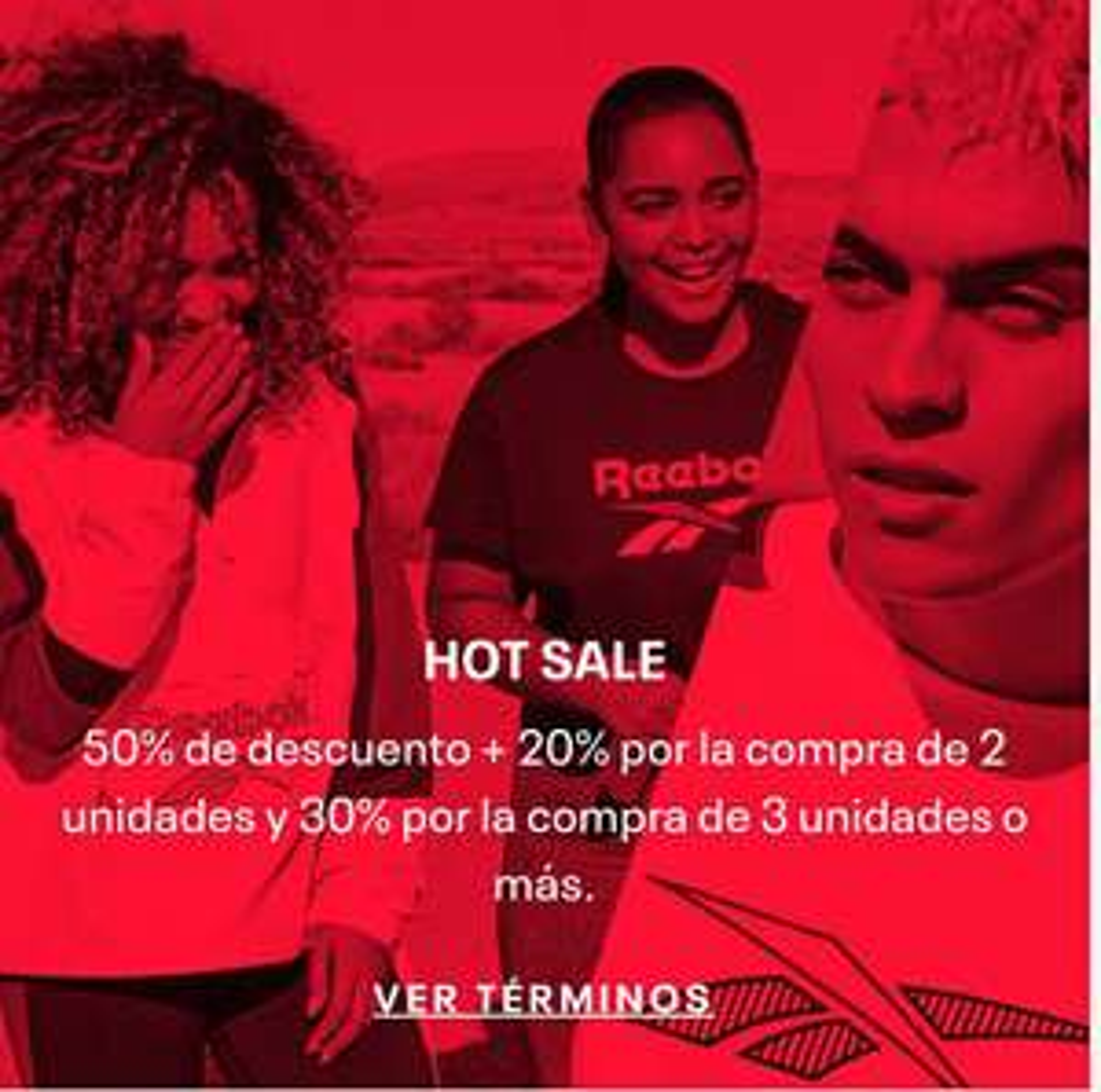 Reebok: Hot sale 2020 descuento escalado (20% en compra de 2 piezas o 30% en compra de 3)