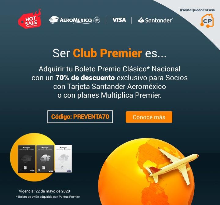 Aeroméxic: Bloeto premio clásico nacional con 70% de descuento con tarjeta Santander Aeroméxico o planes multiplica premier