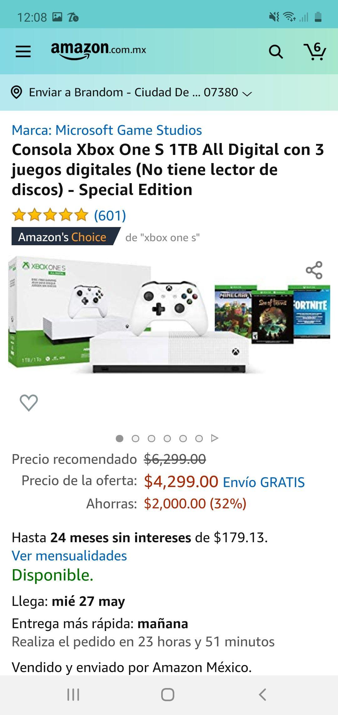 Amazon: Xbox one S con 10 % de descuento.con algunas tarjetas