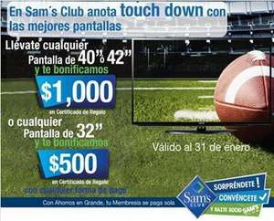 Sam's Club: $500 ó $1,000 de bonificación al comprar pantallas (oferta extendida)