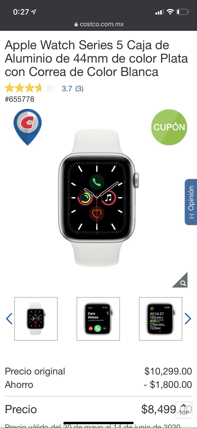 Costco: Apple watch series 5, 44mm plata