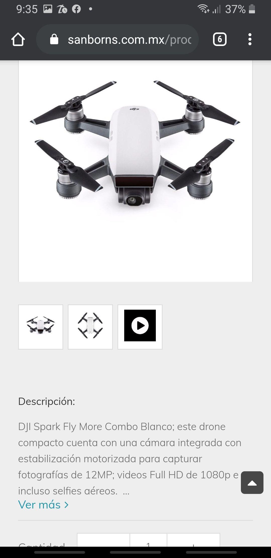 Sanborns: Dron dji spark combo dly more 11,999