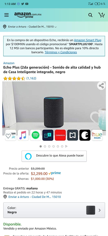 Amazon echo plus + smart plug ($100)