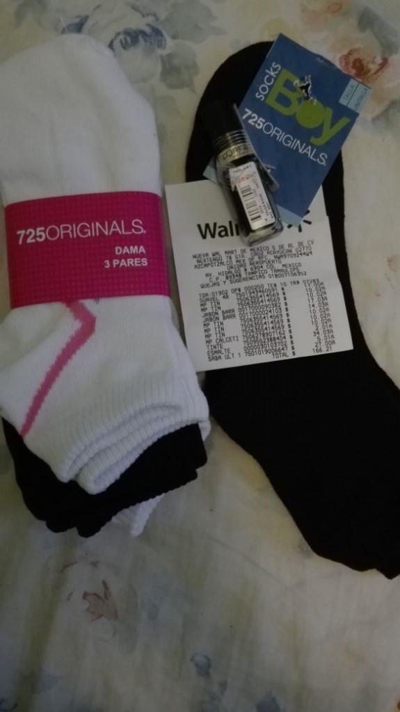 Walmart Tampico: 3 tines para dama a $10.02, calceta niño $2.01, esmalte L'Oréal a $5.01 y mas