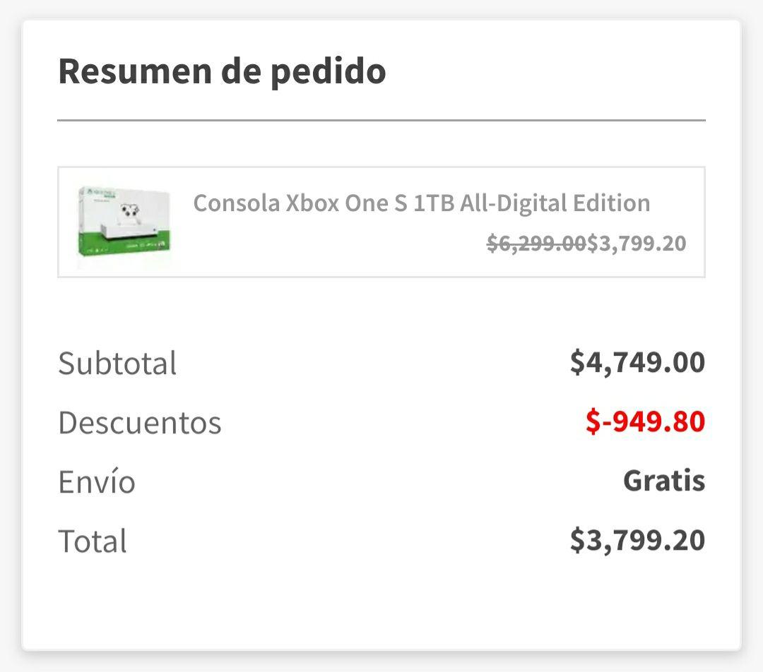Elektra: Xbox One S All Digital pagando con Crédito Elektra