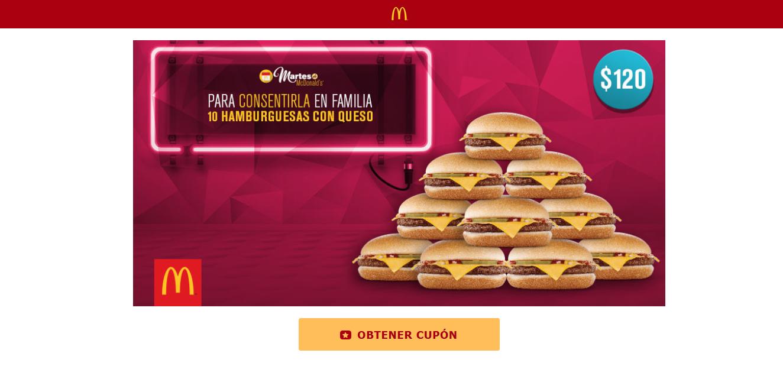 McDonald's: 10 hamburguesas con queso a $120