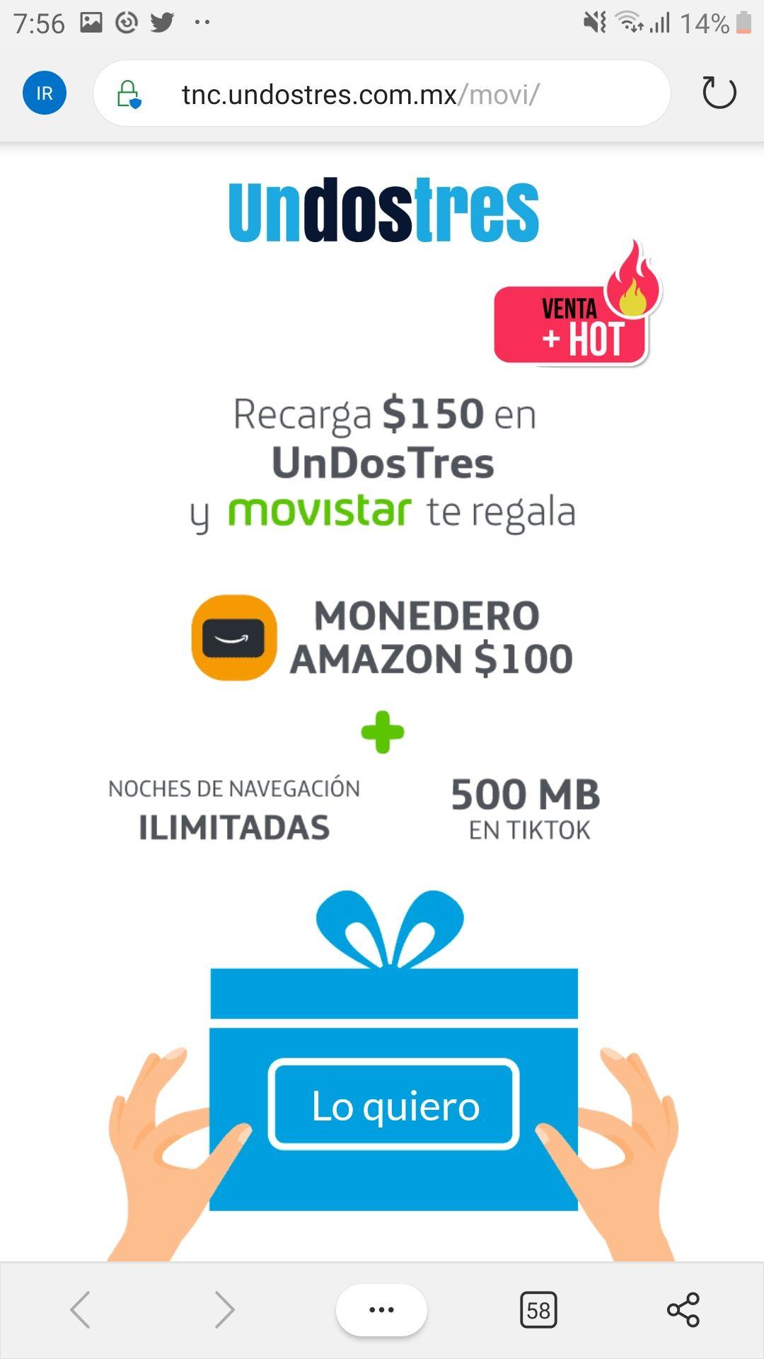 UNDOSTRES: $100 en monedero Amazon con recarga de $150 Movistar.