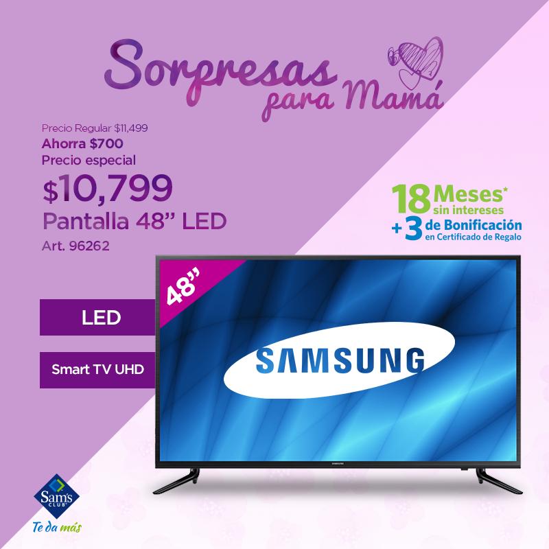 """Sam's Club: Televisión Samsung 48"""" LED Smart TV UHD, con bonificacion de 3 mensualidades 1799.83"""