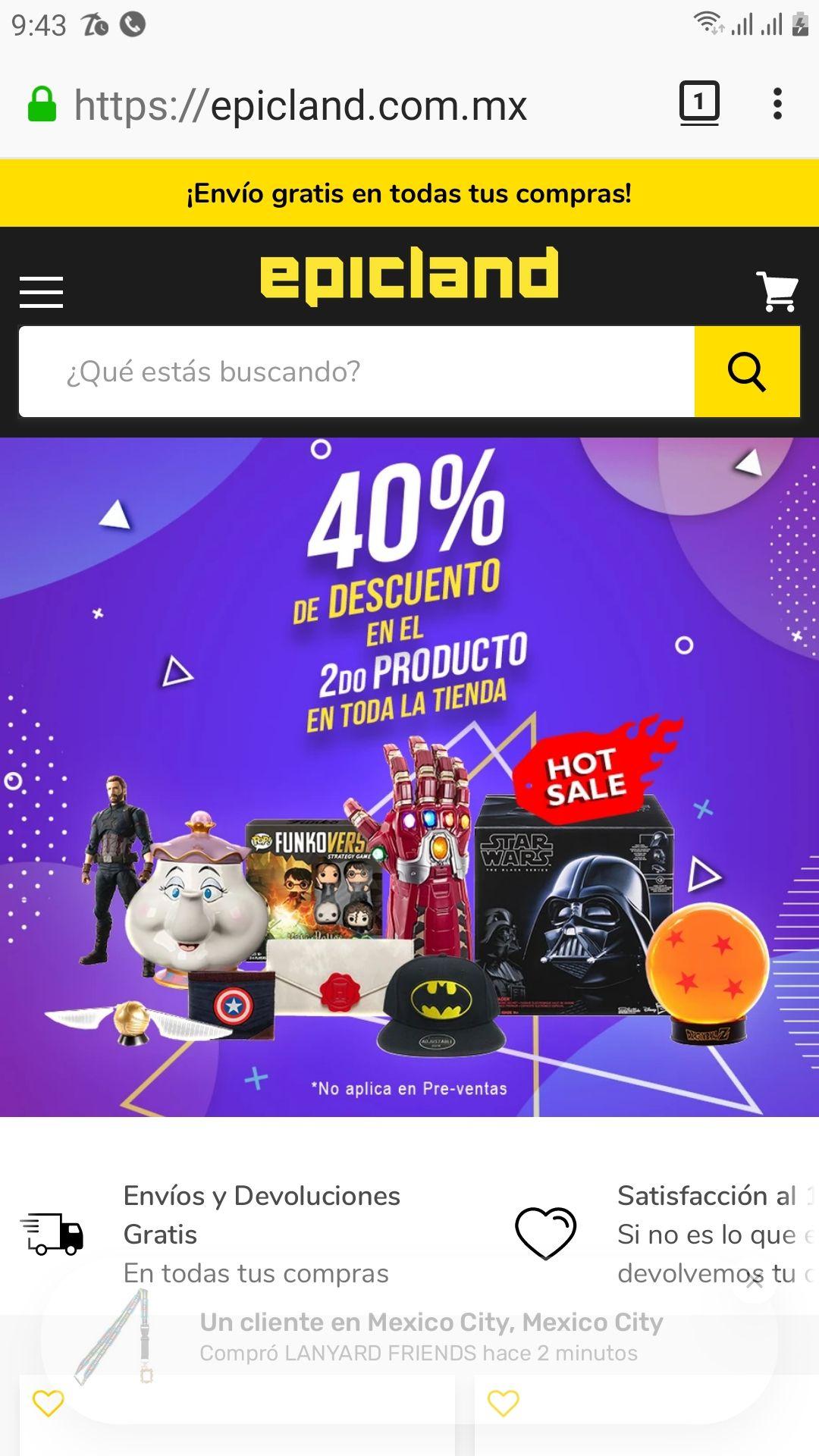 epicland 40% de descuento en el segundo producto