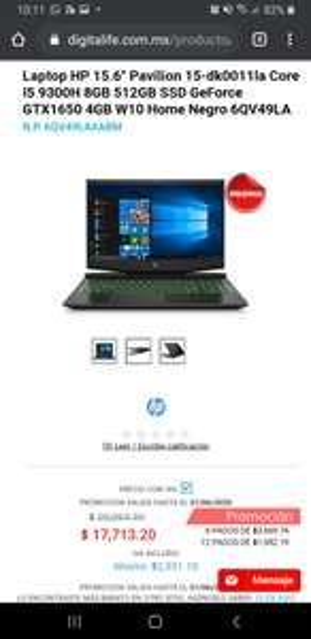 "digitalife Laptop HP 15.6"" Pavilion 15-dk0011la Core I5 9300H 8GB 512GB SSD GeForce GTX1650 4G con Tarjeta Banorte"