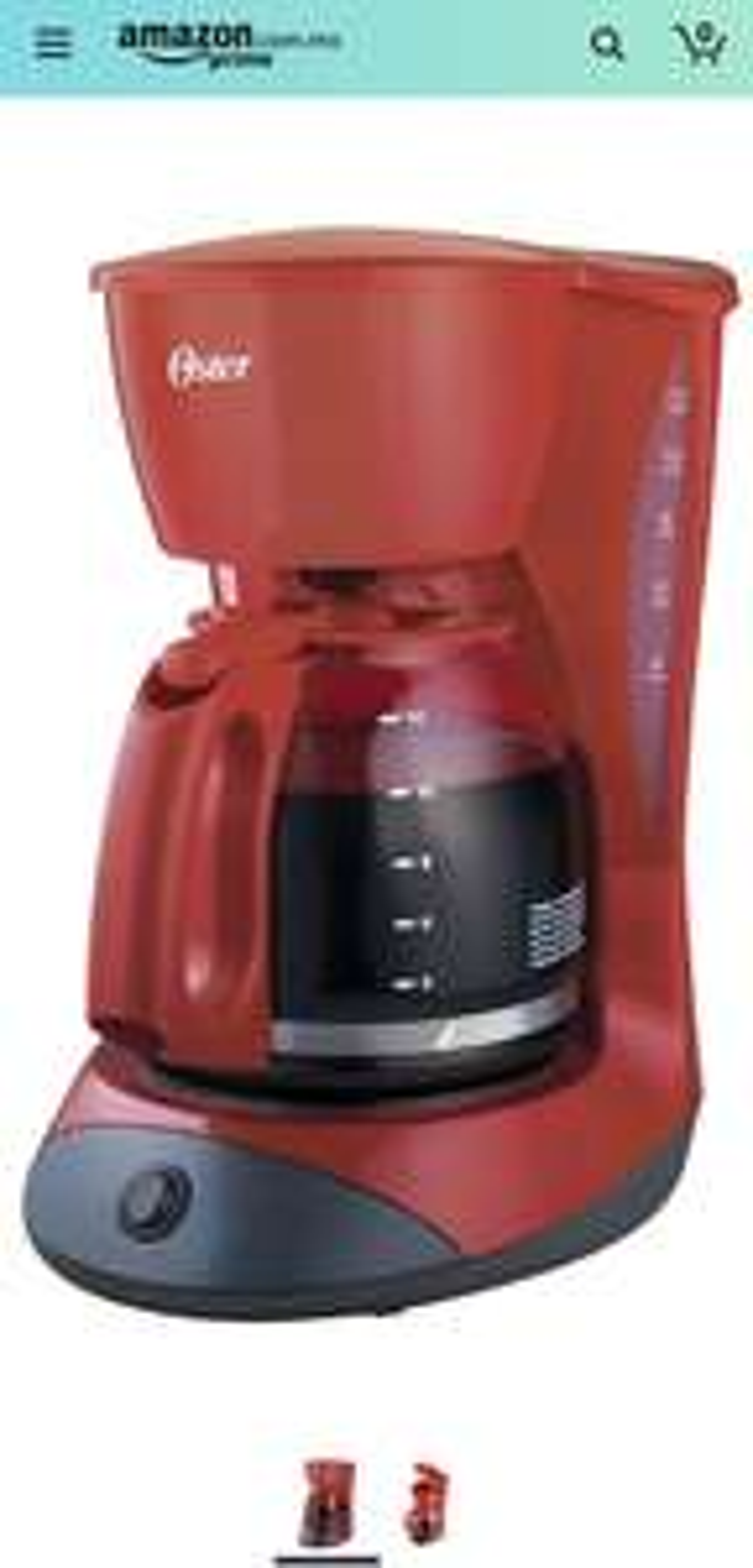 Amazon: Cafetera Oster® roja de 12 tazas con función de pausa y servir