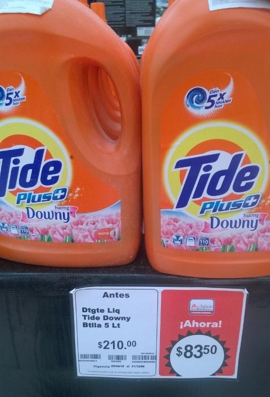 Chedraui: Detergente Tide Plus con Downy 5 litros de $210 a $83.50