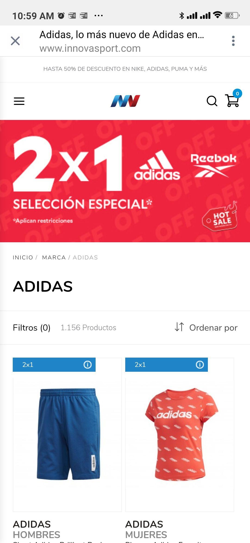 innovasport Variedad de productos ropa deportiva y tenis Adidas y Rebook al 2x1