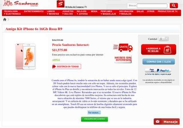 Sanborns en línea: iPhone 6s ROSA 16gb a $11,575