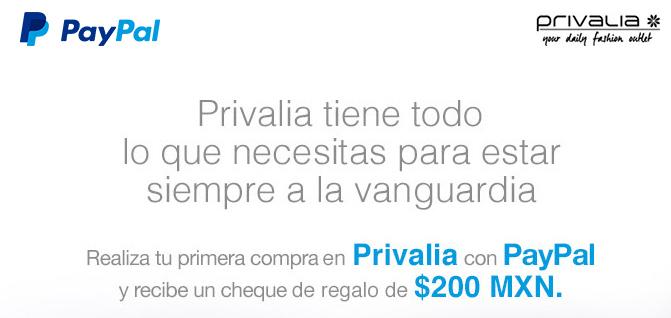 Privalia: $200 en cheque de regalo pagando con PayPal