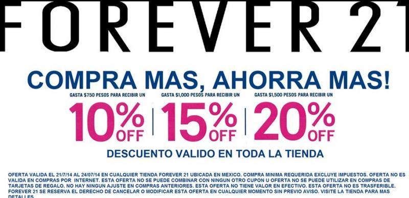 Forever 21: descuentos del 10 al 20% en el total dependiendo el monto de la compra