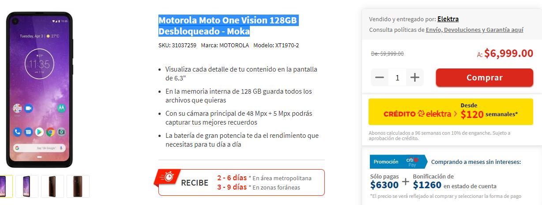 Elektra: Motorola Moto One Vision 128GB Desbloqueado - Moka (Pagando con City)