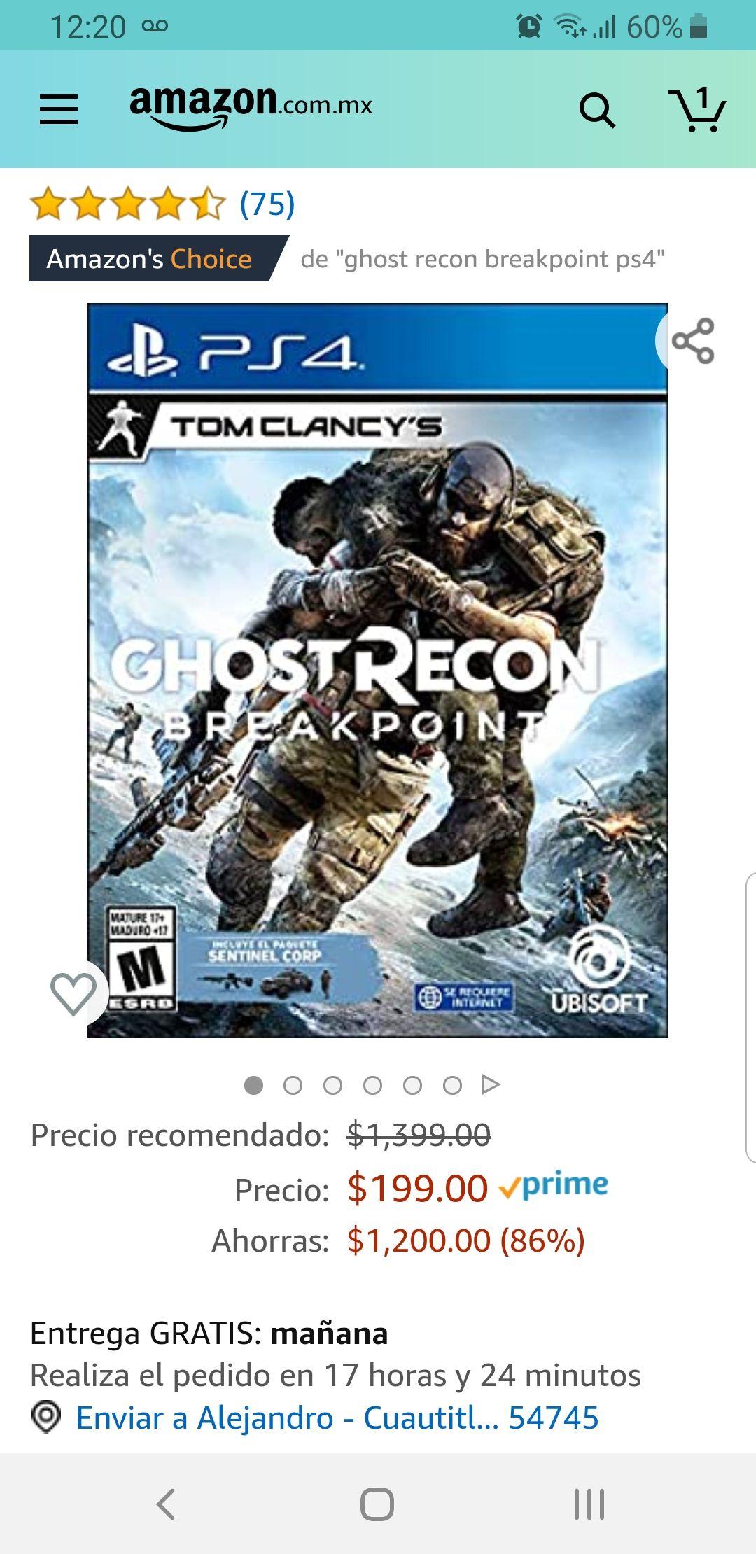 Amazon México Ghost Recon Breakpoint PS4
