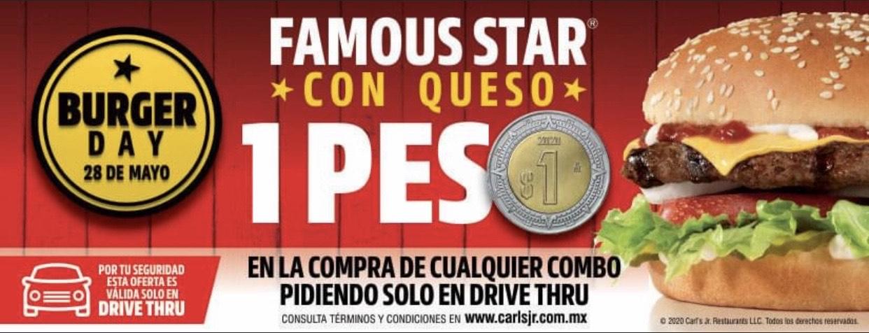 Carl's Jr.: Famous Star con queso a 1 peso en la compra de cualquier combo!!