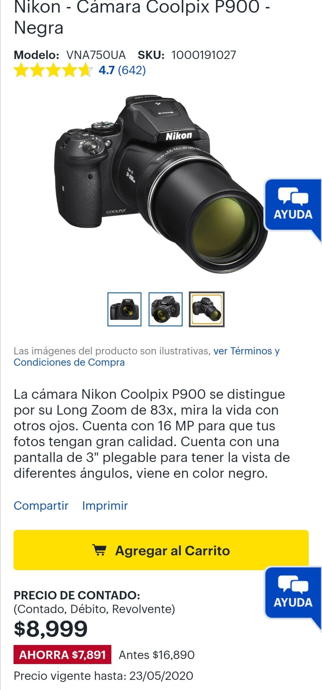 Best Buy Nikon - Cámara Coolpix P900 - Negra