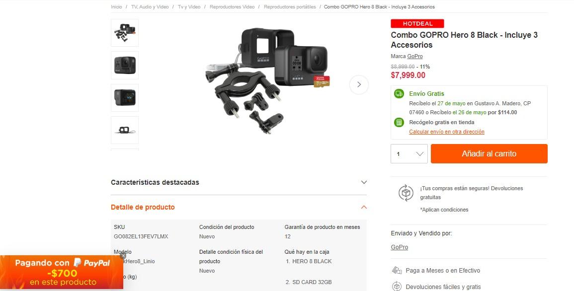 Linio: Combo GOPRO Hero 8 Black - Incluye 3 Accesorios a $7,299 pagando con paypal
