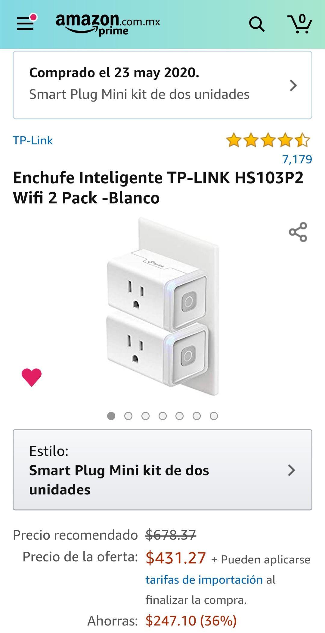 Amazon: Paquete de 2 enchufes INTELIGENTES (WIFI) TP-LINK