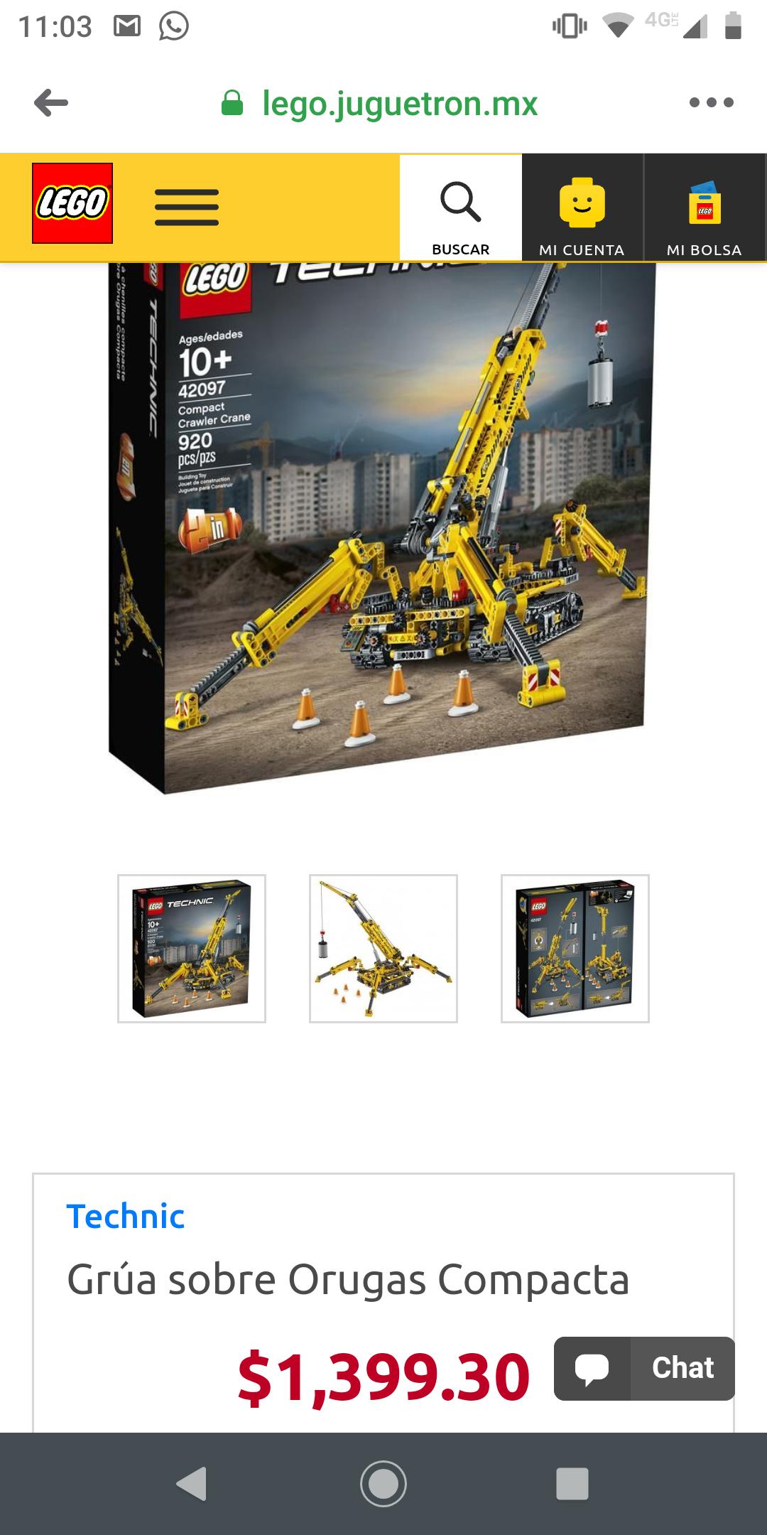 juguetron: Lego Technic Grúa sobre Orugas Compacta