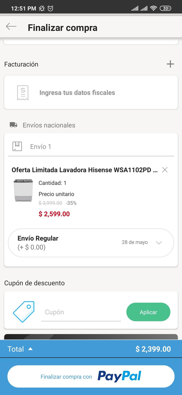Linio Lavadora HISENSE 11 KG 2 Tinas $2399 pagando con PayPal