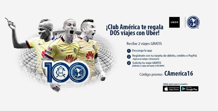 Uber: 2 viajes de $100 gratis para nuevos usuarios con código del Club América