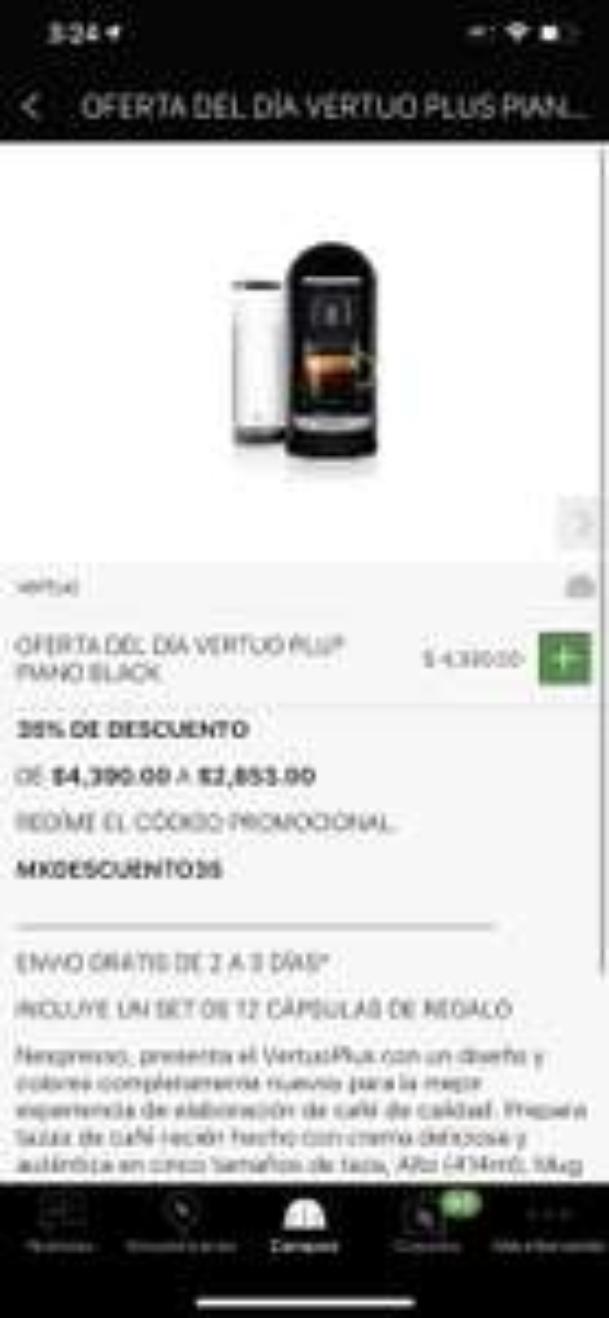 Nespresso: Vertuo Plus con el 35%