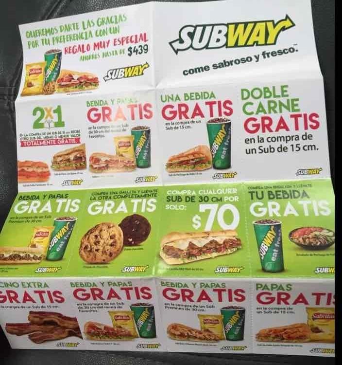 Subway: cuponera de Mayo 2016