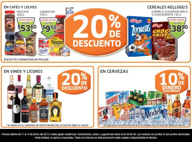 Soriana: 20% de descuento en vinos y licores, cafés, cereales Kellogg's y +