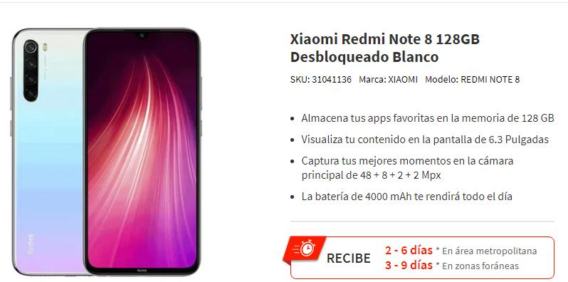 Elektra: Xiaomi Redmi Note 8 128GB Desbloqueado (con Paypal o credito Elektra)