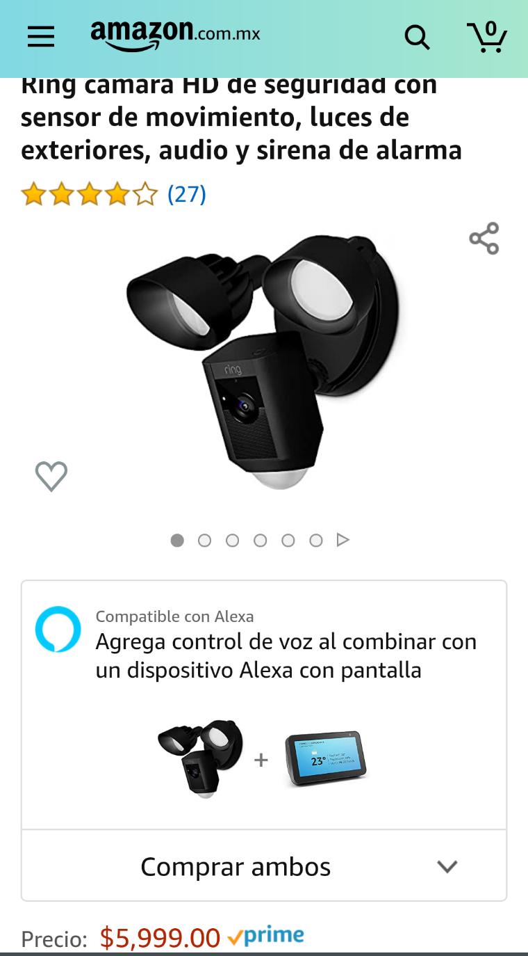 Amazon: Camara Ring de seguridad con lámparas, por $200 más te llevas el Alexa Echo show 5