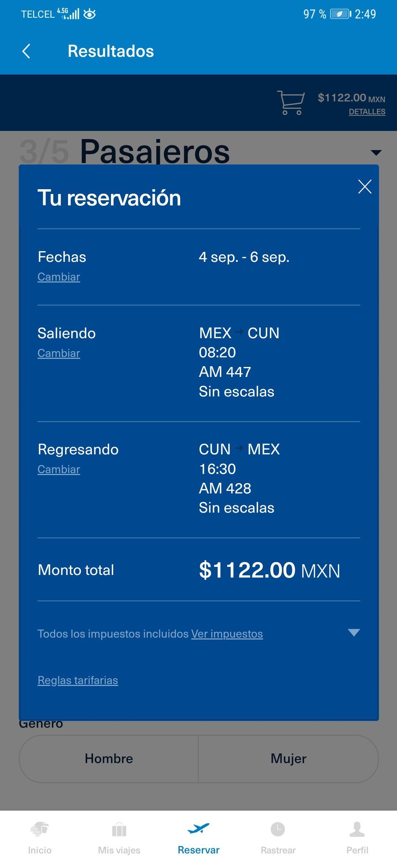 Vuelo Redondo Méx Cun. Aeromexico