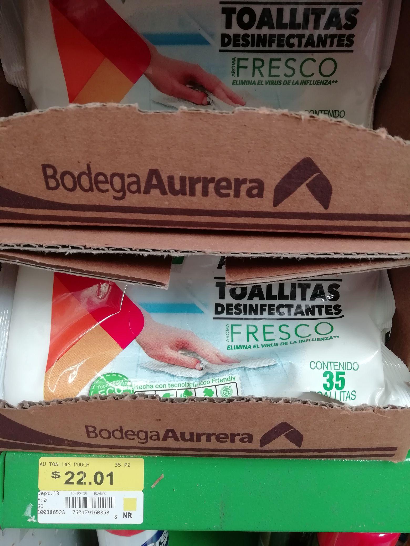 Bodega Aurrerá Toallitas desinfectantes aroma fresco 35 toallitas.