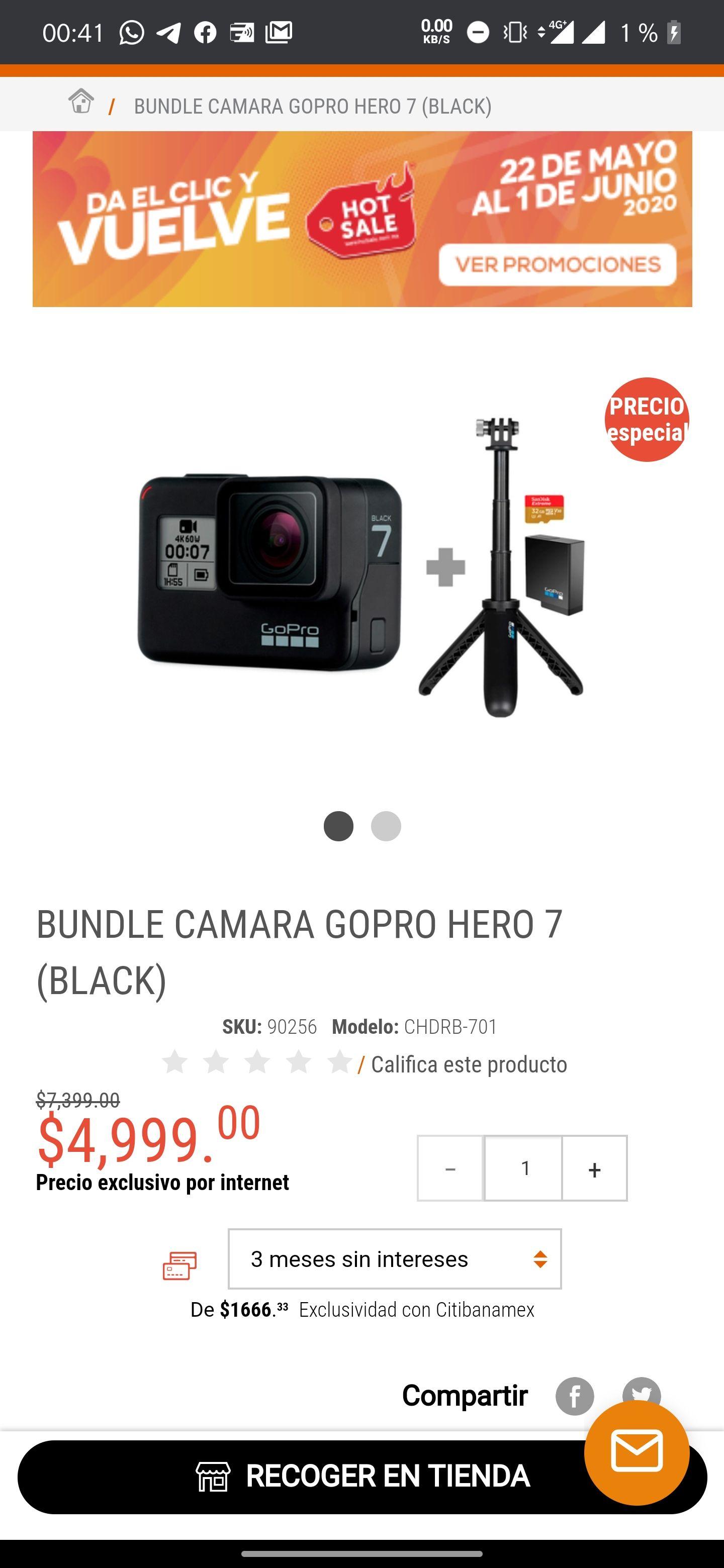 Radioshack bundle Gopro hero 7 black comprando con Paypal y bancomer
