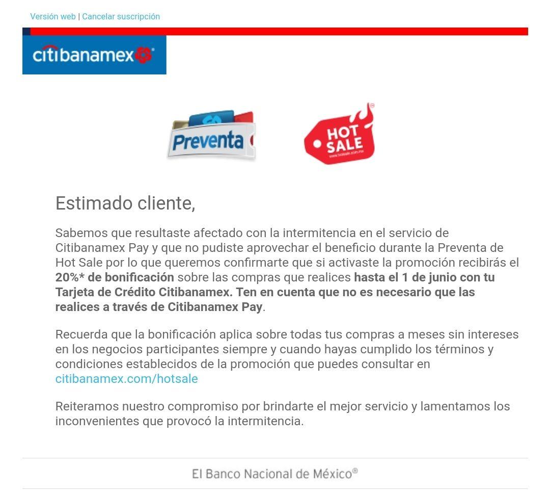 20% de Bonificacion de Citibanamex durante todo el Hotsale por errores de Citibanamex Pay (usuarios seleccionados por correo)